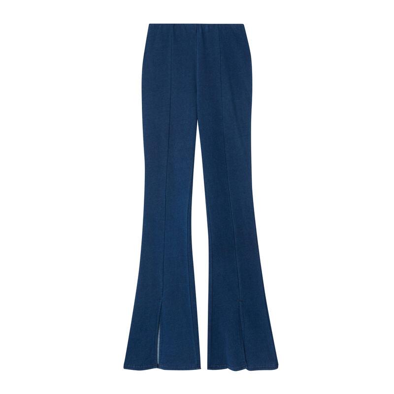 Wijde broek met split - blauw;