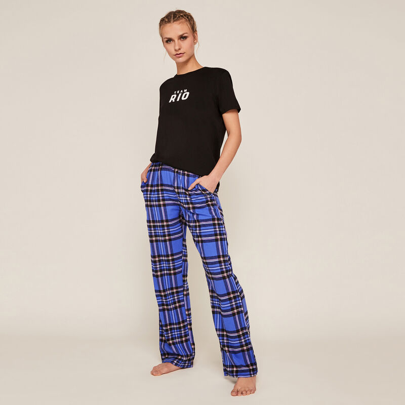 Pantalon à carreaux - bleu;