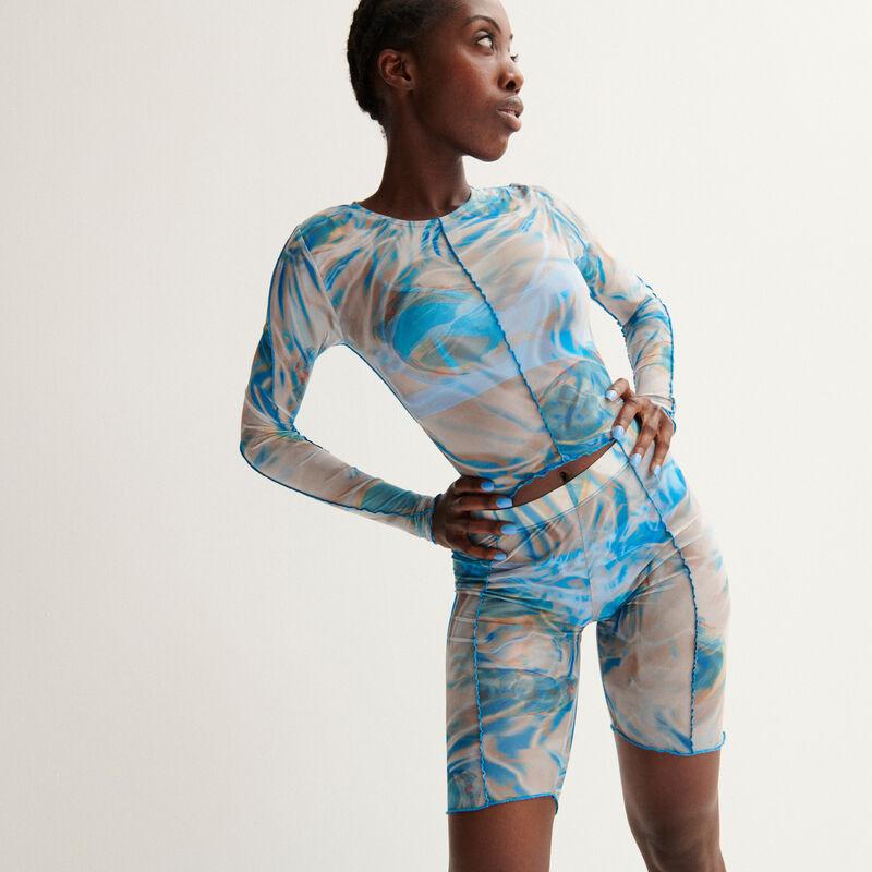 Aya x undiz visnet-shorts in wielrenmodel met smoke print - blauw;