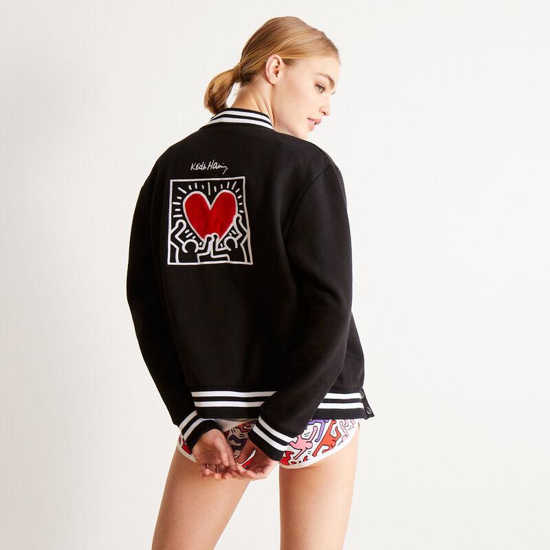 Keith Haring jasje met hartenprint - zwart;