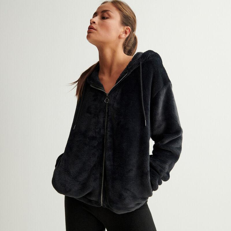fleece jasje met ringrits en capuchon - zwart;
