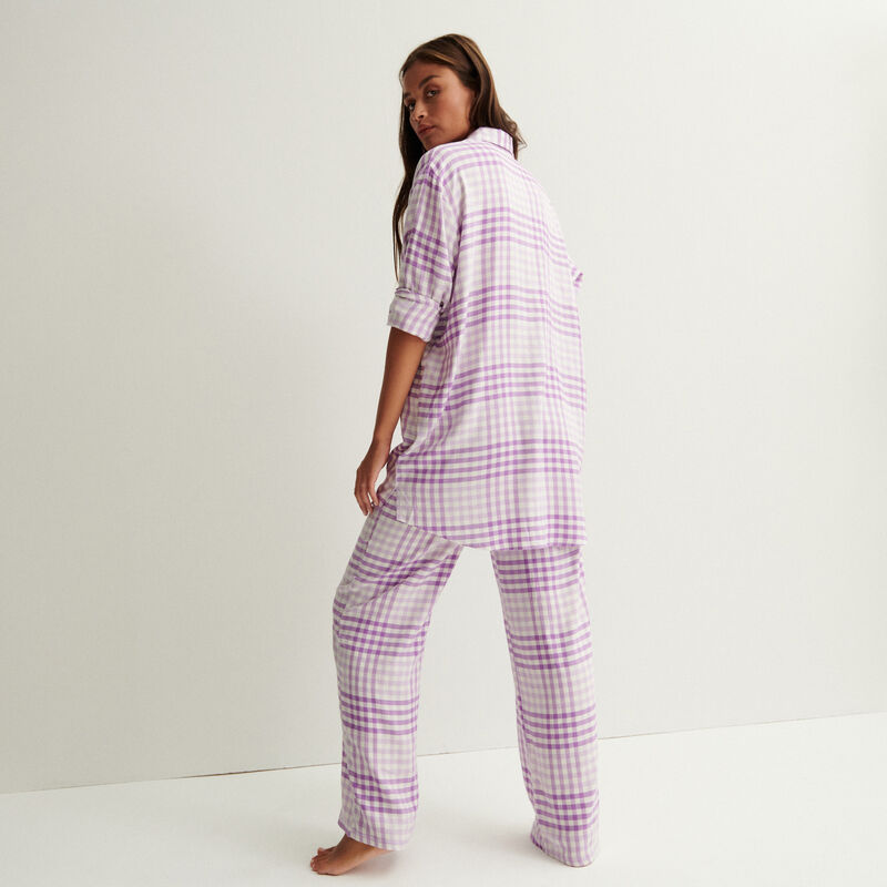 oversized geruit overhemd - paars;
