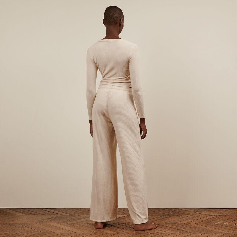 Pantalon large - blanc cassé;