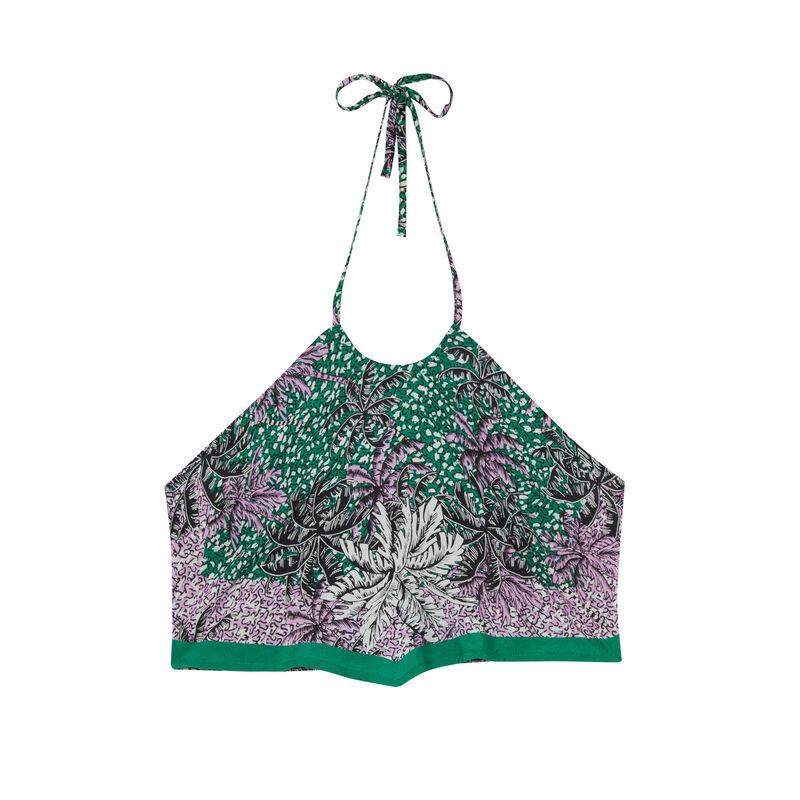 top met blote rug, foulard-effect en palmbomenmotief - groen;