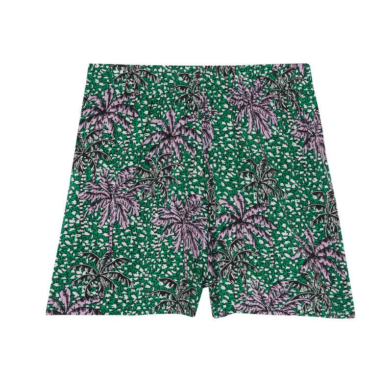 short met palmbomenprint - groen;