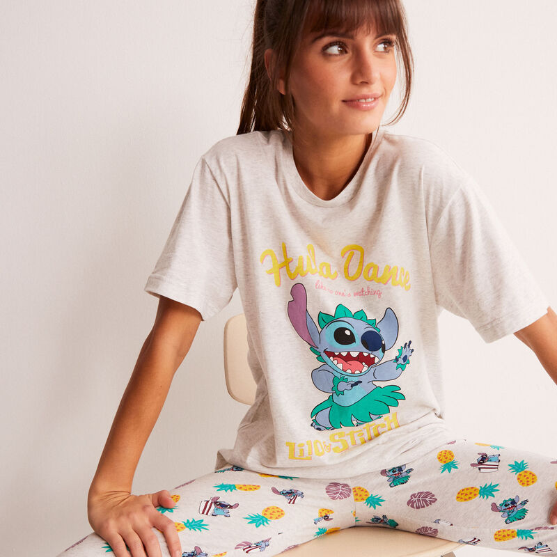 top met Stitch Hula Dance print - ecru;