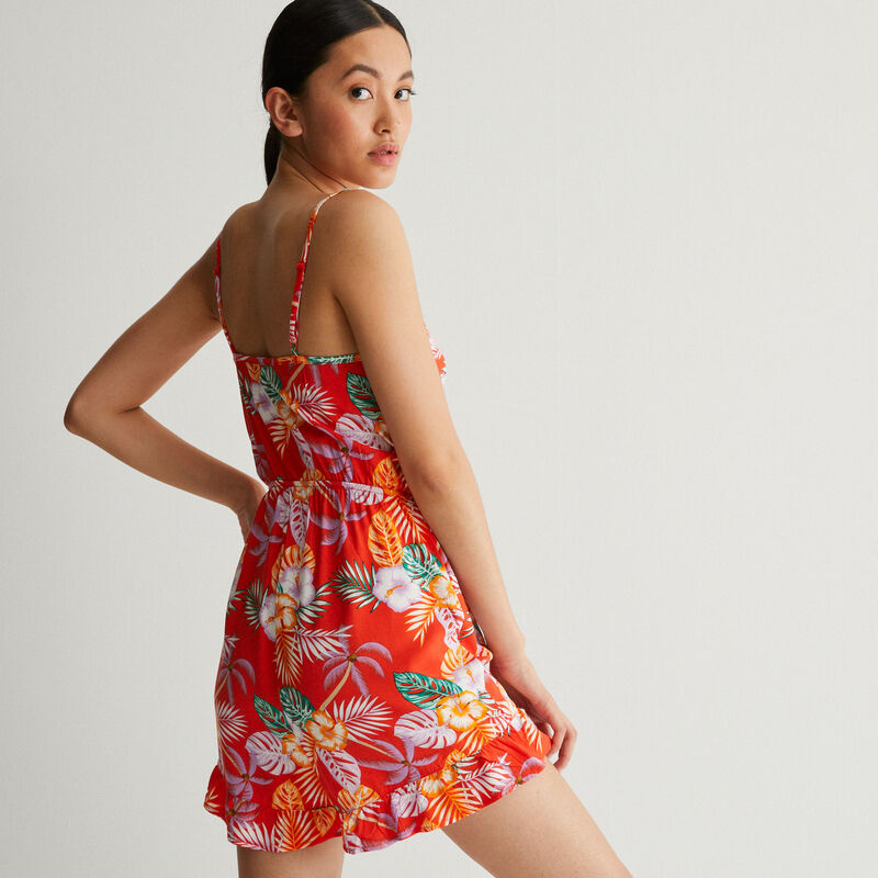 Playsuit met tropische print, ajour en striksluiting - rood;