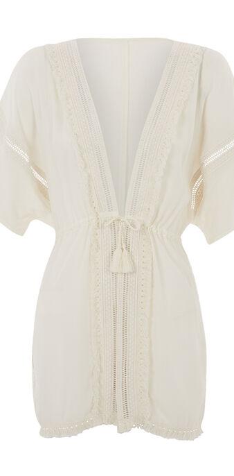 Kimono beige lineiz white.