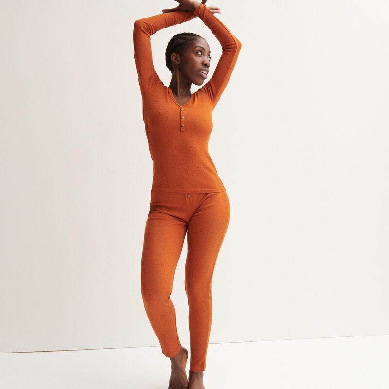 geribbelde gevlekte legging - camel;