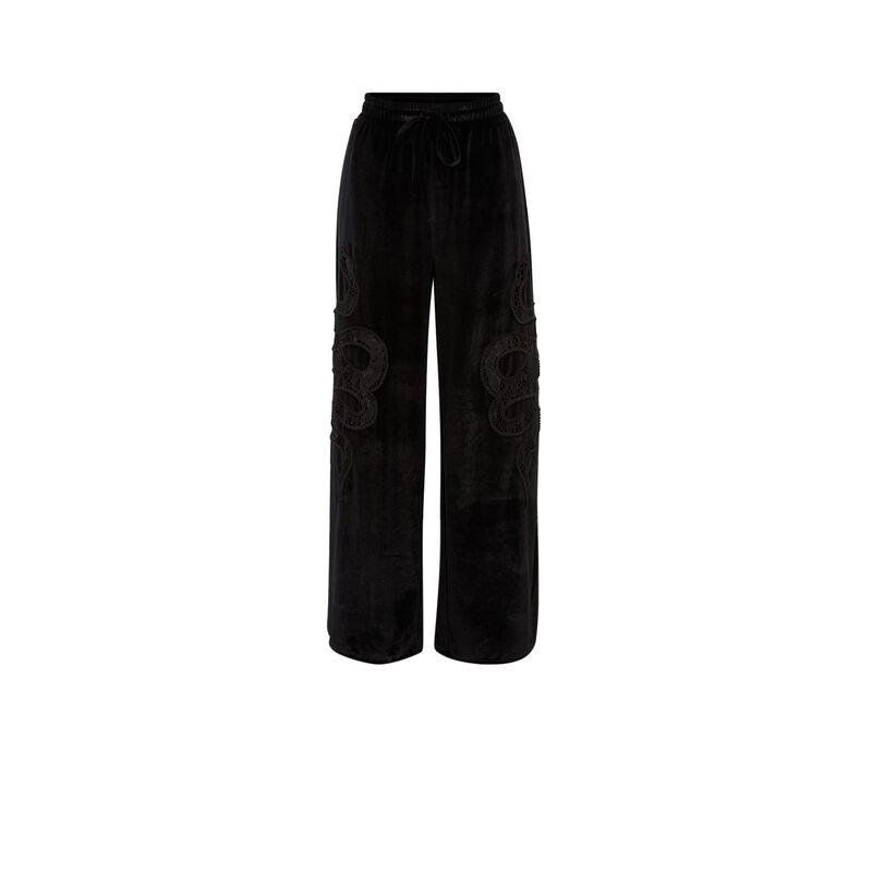 pantalon en velours à motifs serpents - noir;