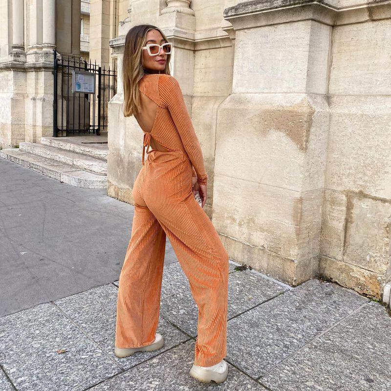 rechte broek met hoge taille - camel;