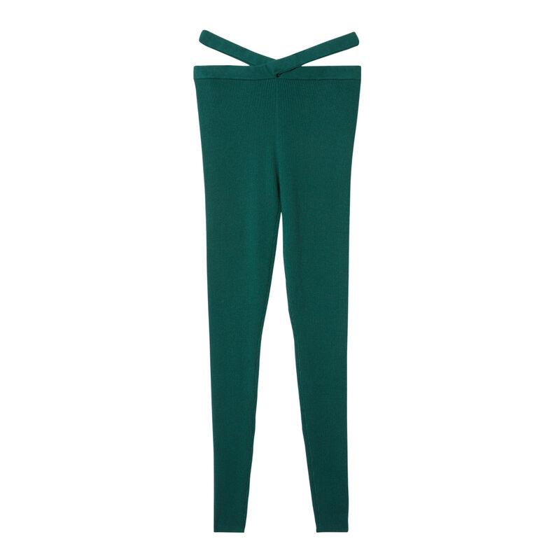 tricot legging met koord detail - dennengroen;
