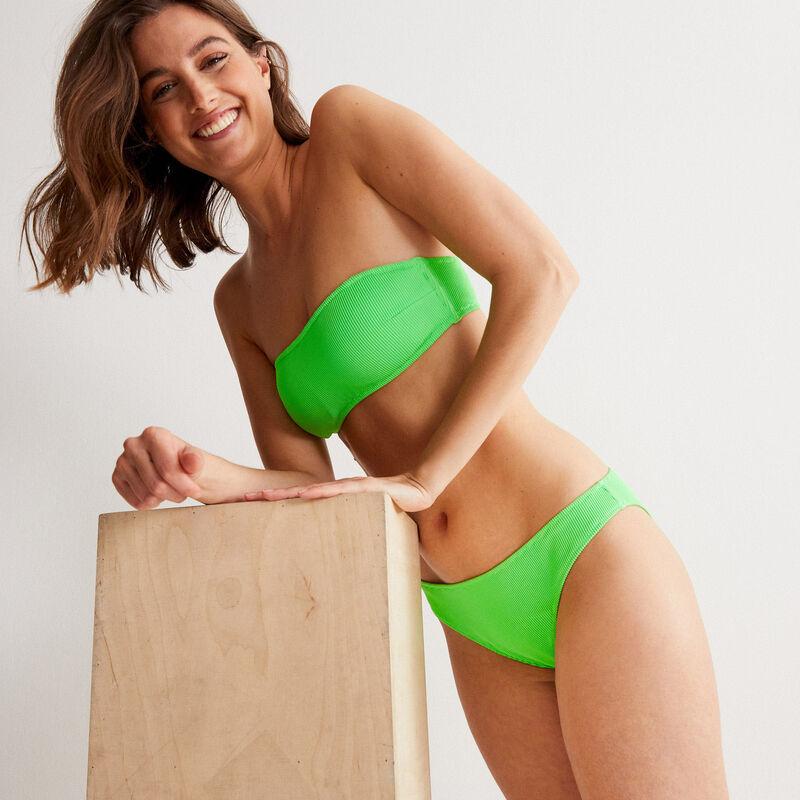 Bikinitopje in bandeau-vorm met wafelstructuur - groen;