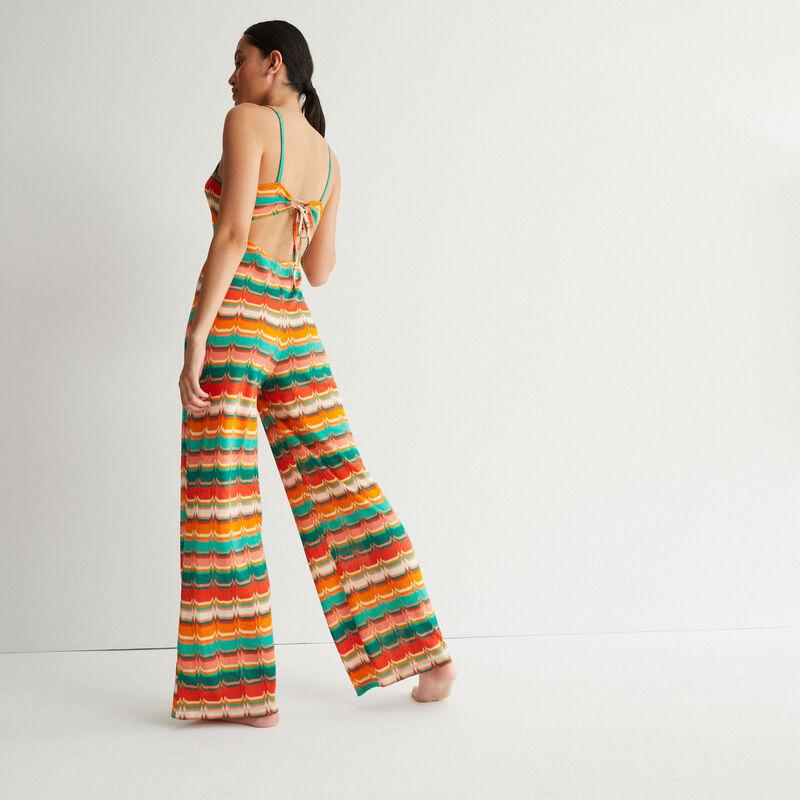 jumpsuit met print en striksluiting - groen;