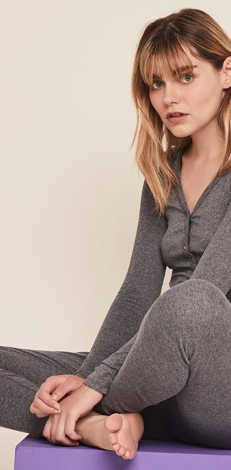 Top à manches longues cotelé uni minimimiz gris.