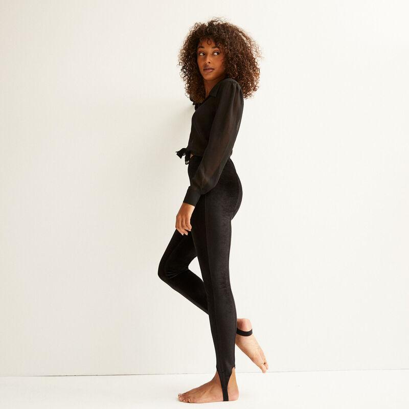 Shiny legging van velours - zwart;