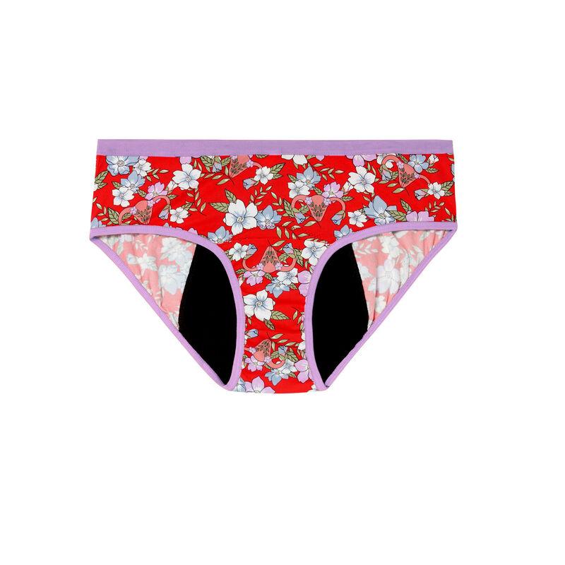 menstruatiebroekje met bloemenprint - rood;