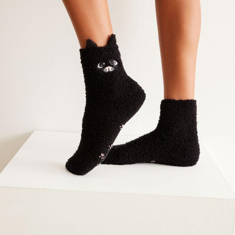 chaussettes chaton mignon - noir;