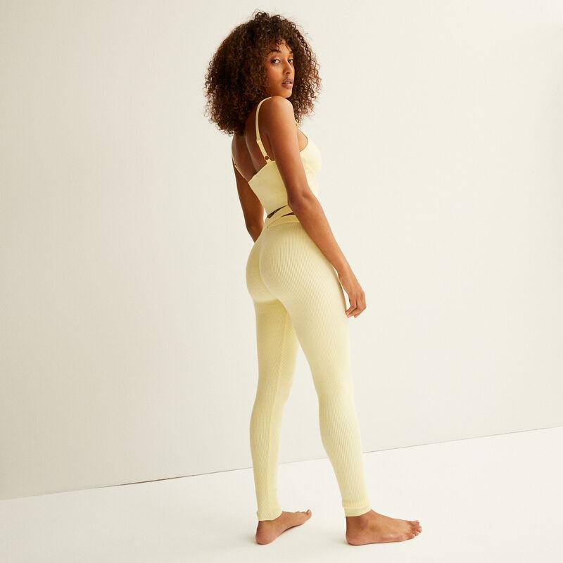 tricot legging met koord detail - pastel geel;