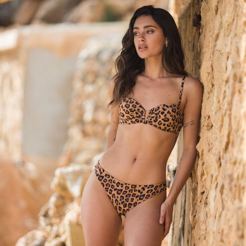 bandeau-topje met luipaardprint - bruin ;