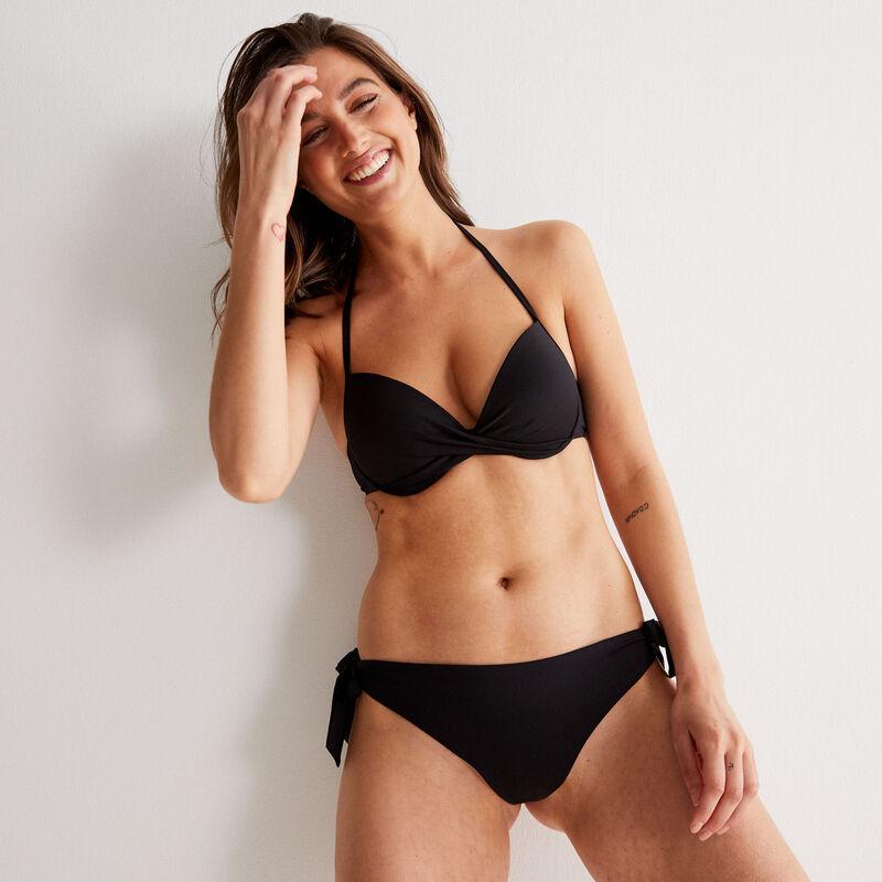 Push-up bikinitop met blote rug en gedraaid decolleté - zwart;