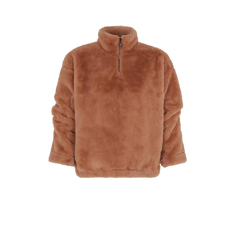 Sweater van fleece - bruin ;