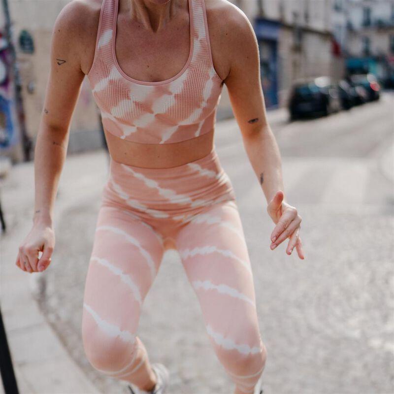 sportbeha met tie en dye effect - roze;