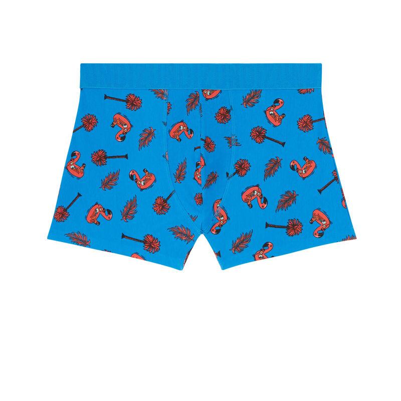 katoenen boxershort met flamingo-print - blauw;