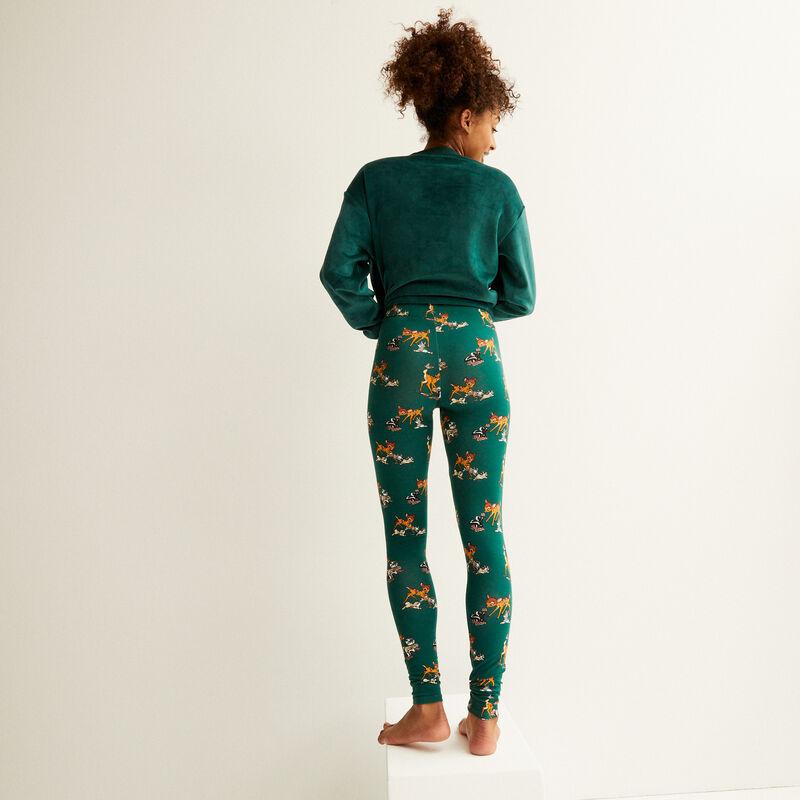 legging met bambi-patroon - dennengroen;