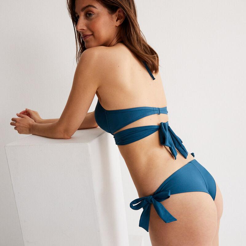 Bikinibroekje met strikdetails - eendenblauw;