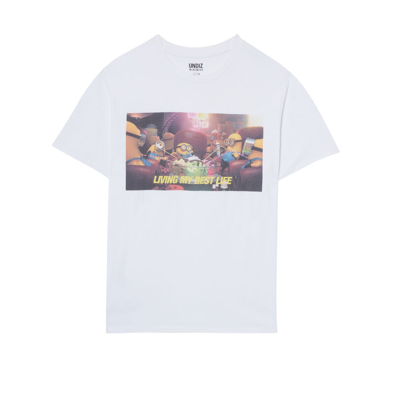 T-shirt met Minions-print - wit;