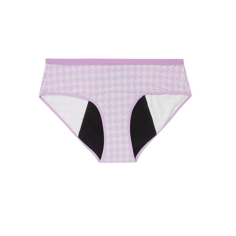 Menstruatiebroekje met krantenprint - lila;