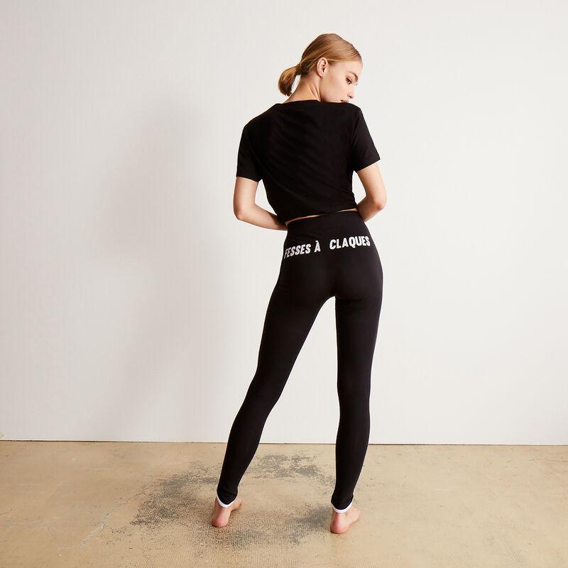 legging met print 'fesses à claques' (billen om op te slaan) - zwart;