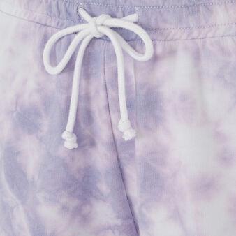 Short violet tiedyiz purple.