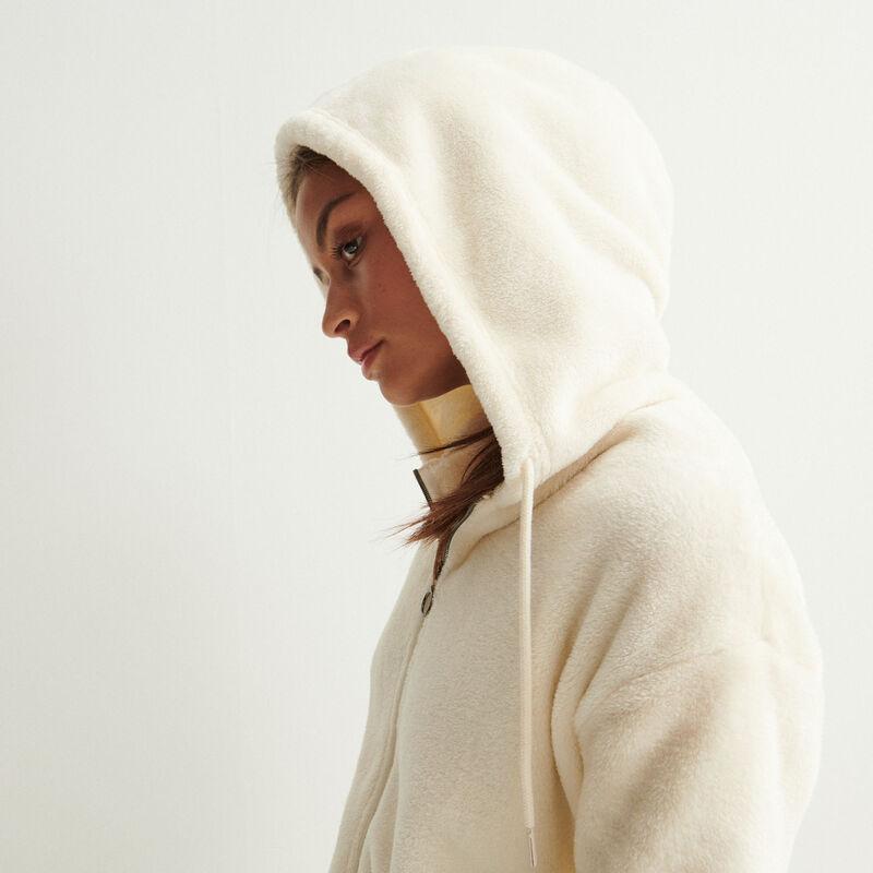 fleece jasje met ringrits en capuchon - crème;