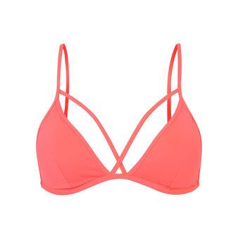 Haut de maillot de bain rose fluo abricotiz pink.