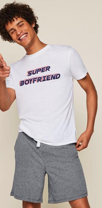 Set pyjama a message superboyiz blanc.