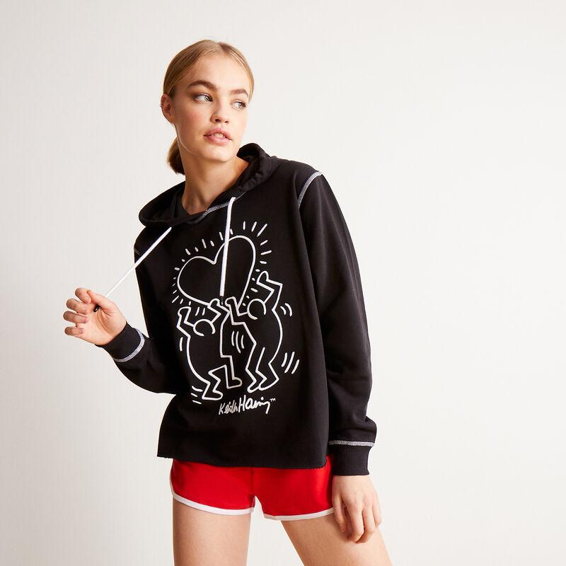 sweater met Keith Haring hartjesmotief - zwart;