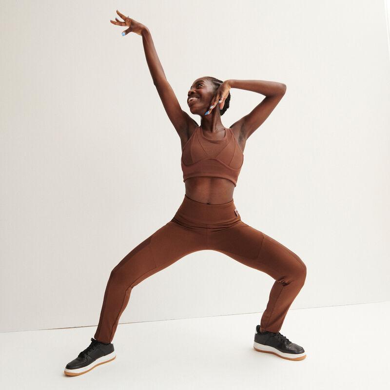 mesh legging met satijneffect - zwart;
