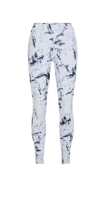 Legging sport imprimé marbre yogamarbliz blanc.
