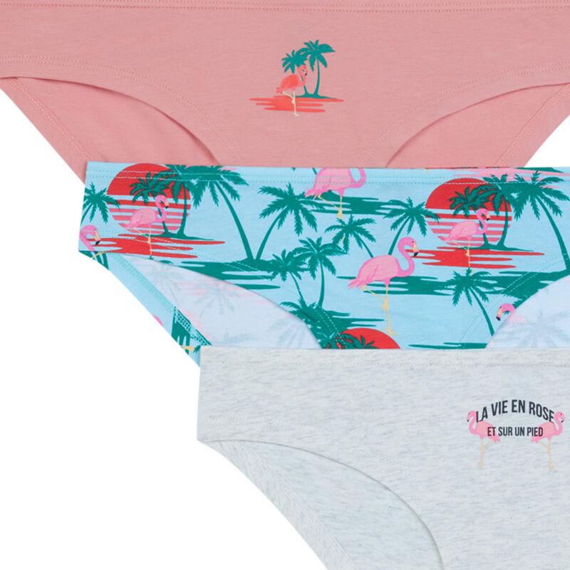 Lot de 3 culottes imprimé palmier - rose clair;