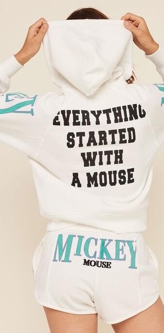Short molleton print mickey mickeymousiz blanc cassé.