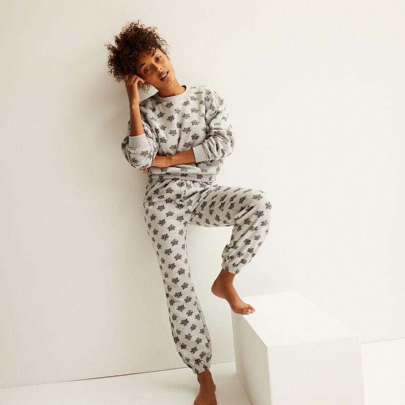 fleece broek met meeko patronen - grijs;