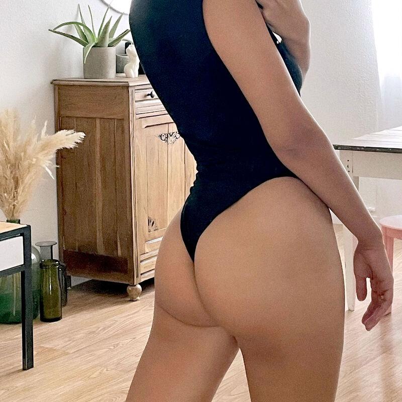 body met top-effect - zwart;