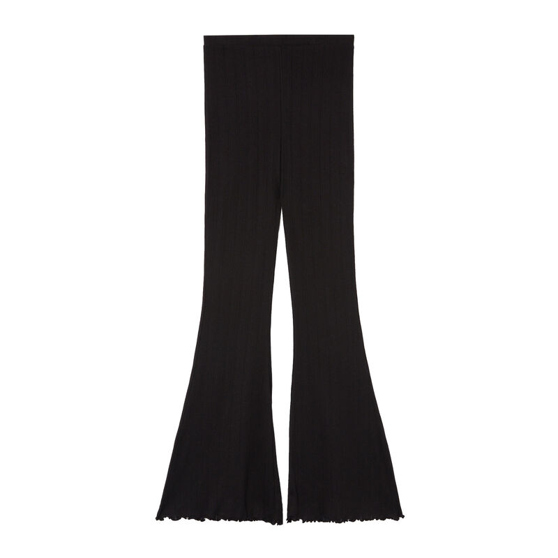 flared pointelle broek - zwart;