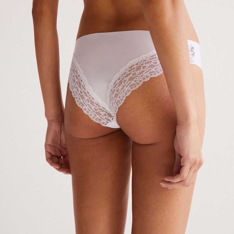 shorty met kanten achterkant - wit;