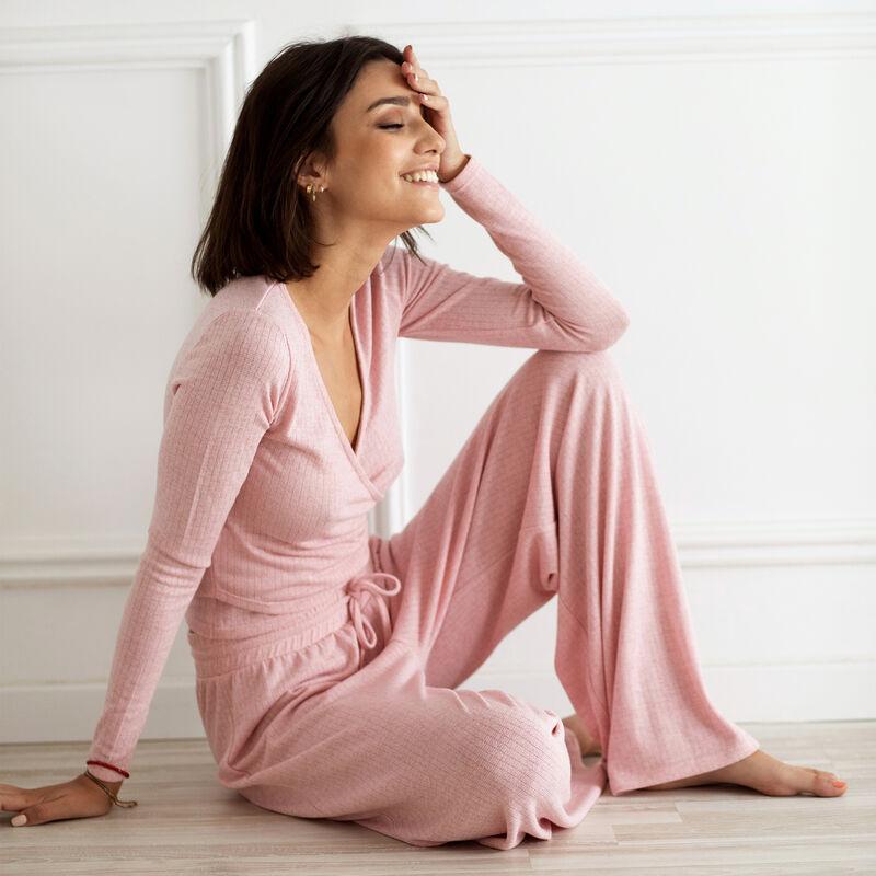 pantalon ample et cordon à nouer - rose;