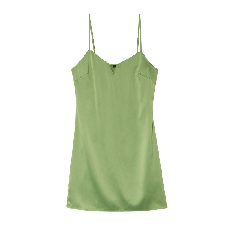 gesatineerde jurk met decolotté met beugels - groen;