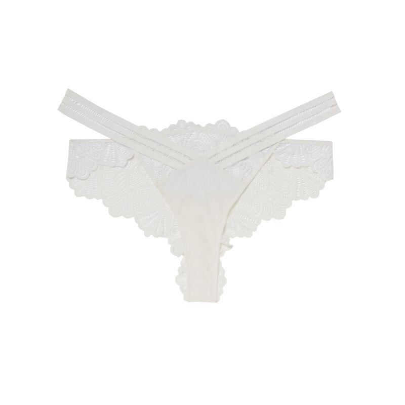 opengewerkte tanga met kanten inzetstuk - ecru;