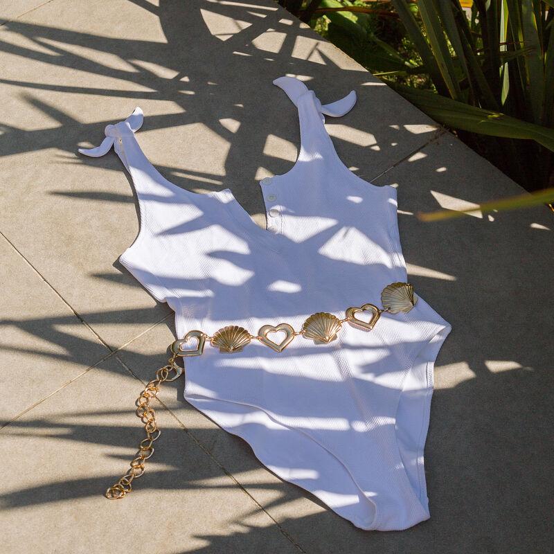Maillot de bain une pièce noué aux épaules - blanc;